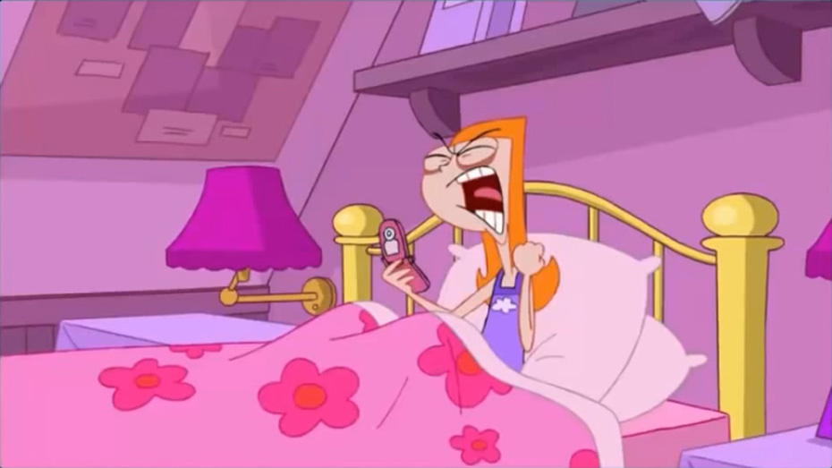 Candace from Phineas and Ferb in bed with phone