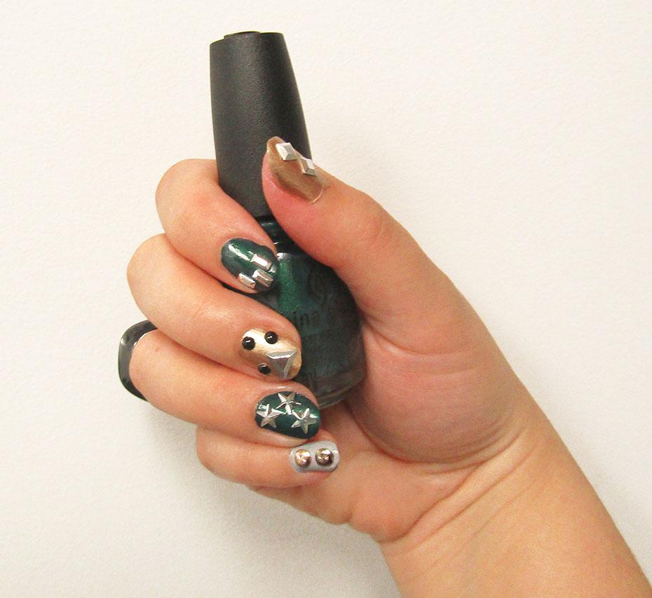 China Glaze Totally Studded nail art right hand