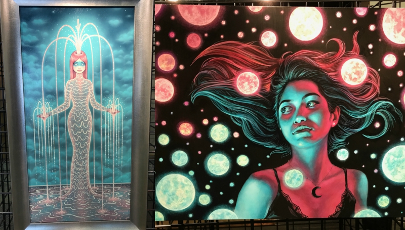 Artwork on display inside Crime on Canvas at Life Is Beautiful Festival in Vegas