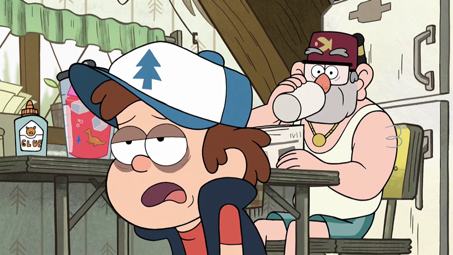 Dipper Pines from Gravity Falls with bag under his eyes from lack of sleep