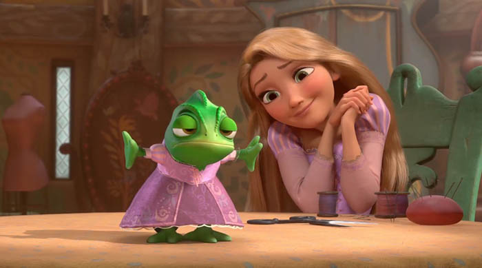 Rapunzel dressing up Pascal in Disney's Tangled