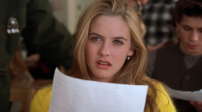 Cher Horowitz confused while taking an exam in Clueless