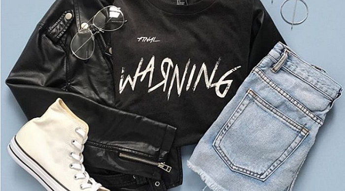"F21 outfit, shirt reads ""warning"""