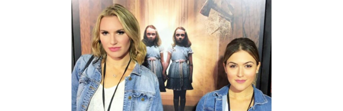 Taylor and Cassie as the twins in the Shining