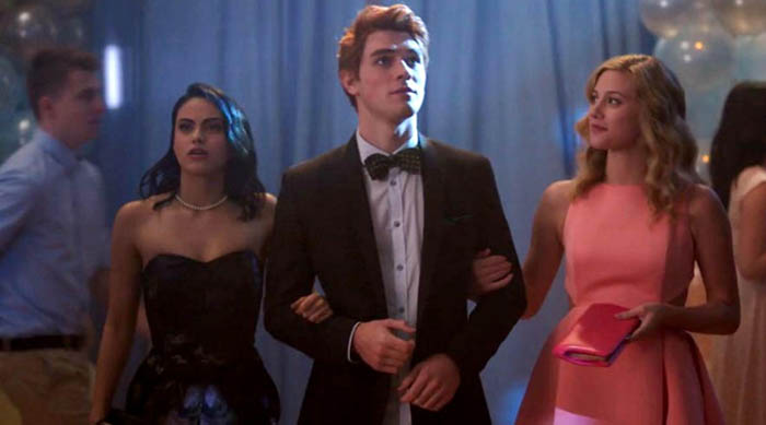 Veronica, Archie and Betty attending homecoming together on The CW's Riverdale