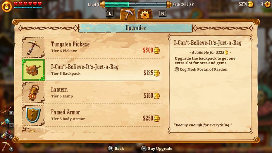 SteamWorld Dig 2: Item upgrades