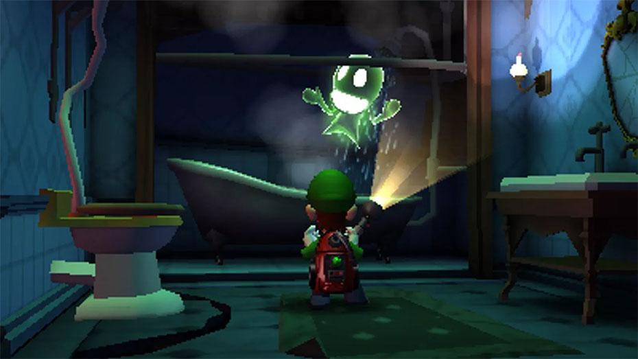 Luigi's Mansion Dark Moon ghost in shower