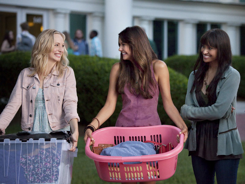 "The Vampire Diaries -- ""I Know What You Did Last Summer"" -- Image Number VD501b_0034r.jpg -- Pictured (L-R): Candice Accola as Caroline, Nina Dobrev as Elena, and Kat Graham as Bonnie -- Photo: Annette Brown/The CW -- © 2013 The CW Network, LLC. All rights reserved."