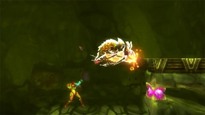 Metroid: Samus Returns fighting boss