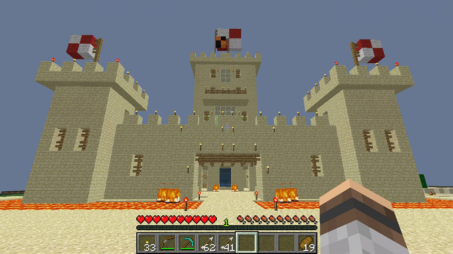 Sand castle built in Minecraft