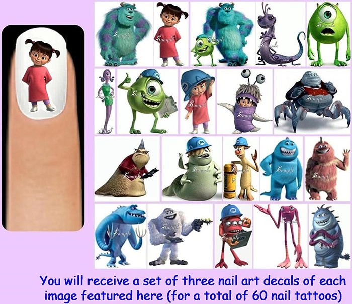 Monsters, Inc. nail decals from Etsy