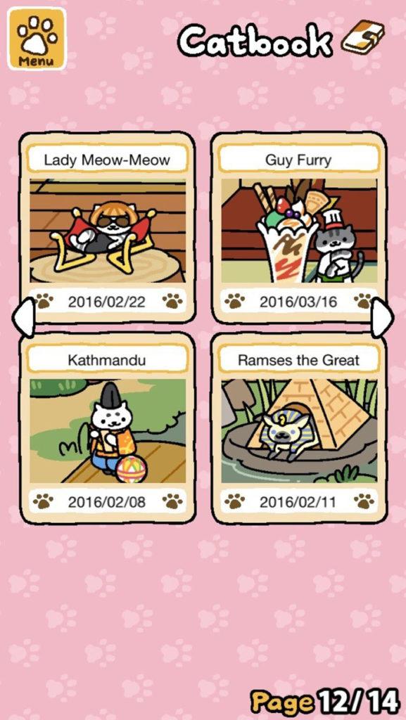 Neko Atsume catbook pun names