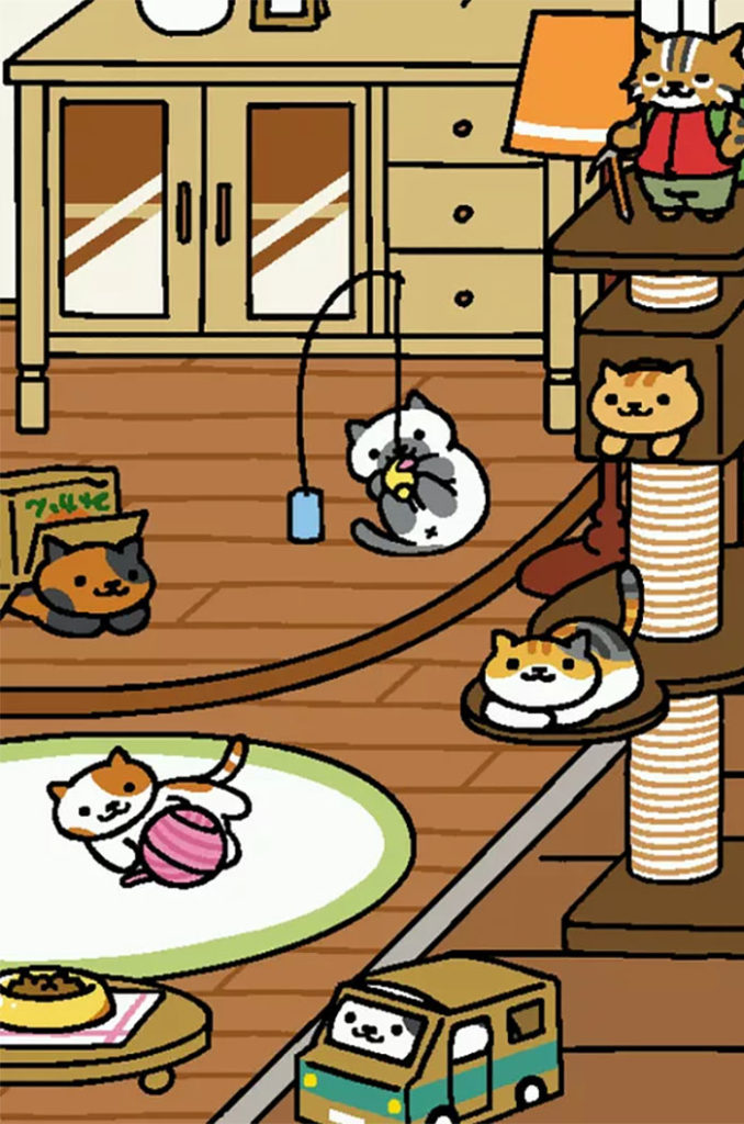Neko Atsume Cats playing inside