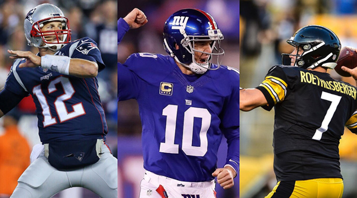 Tom Brady, Eli Mannin and Ben Roethlisberger