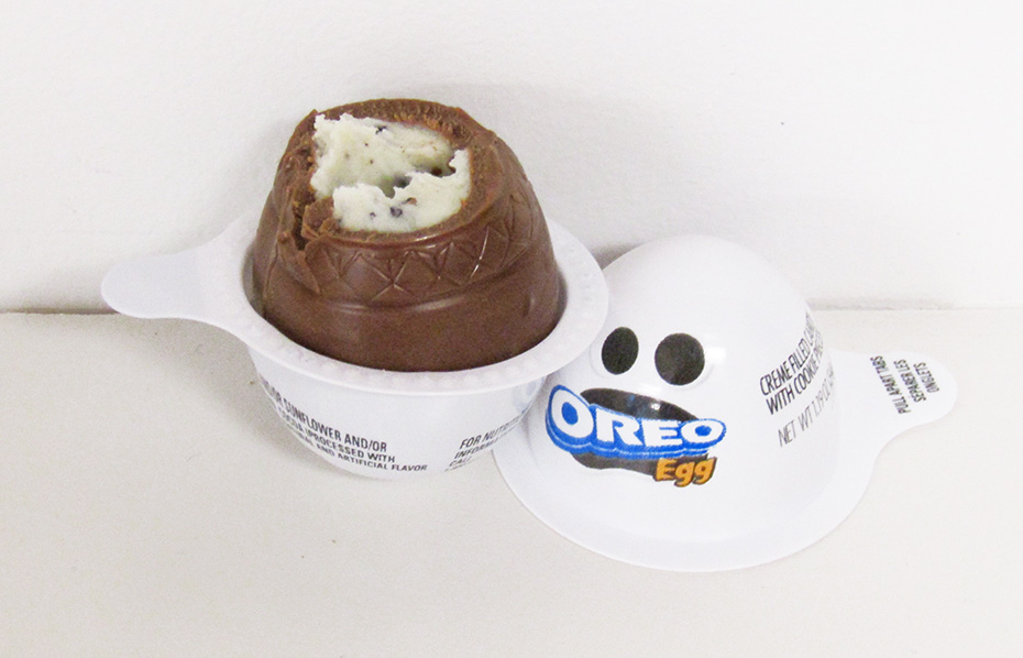 Oreo egg ghost showing creme filling