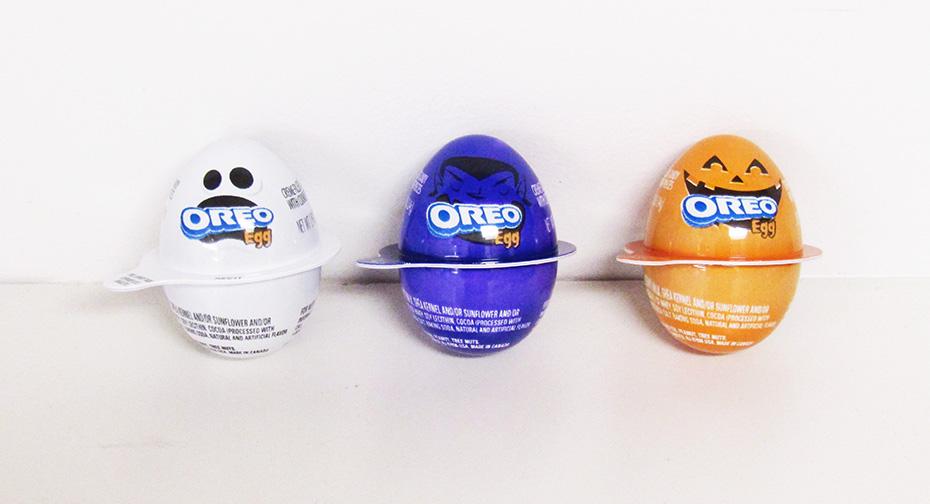 Oreo egg lineup: White ghost, purple vampire, orange pumpkin