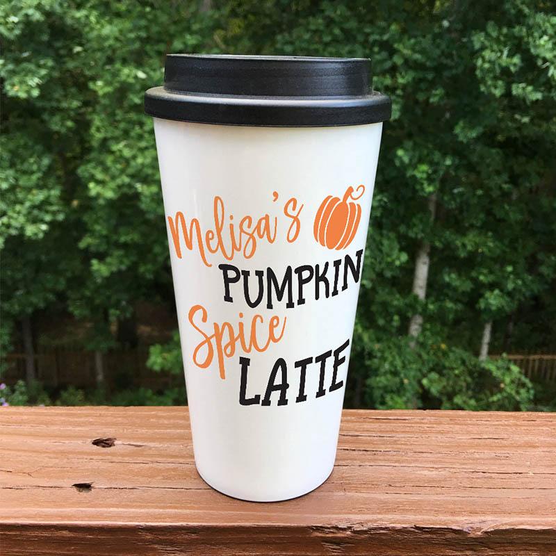 Personalized pumpkin spice latte travel mug
