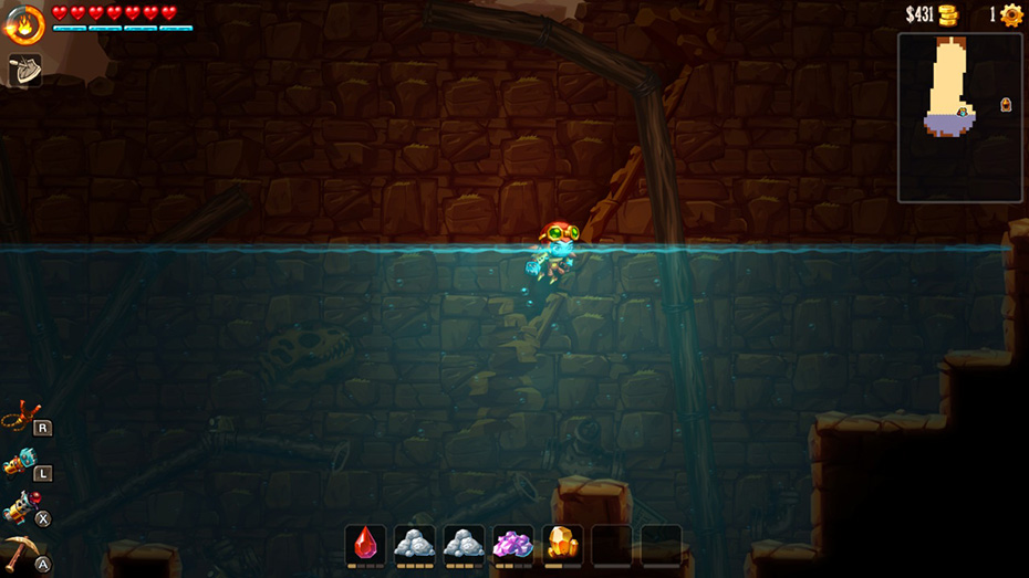 SteamWorld Dig 2: Swimming in water