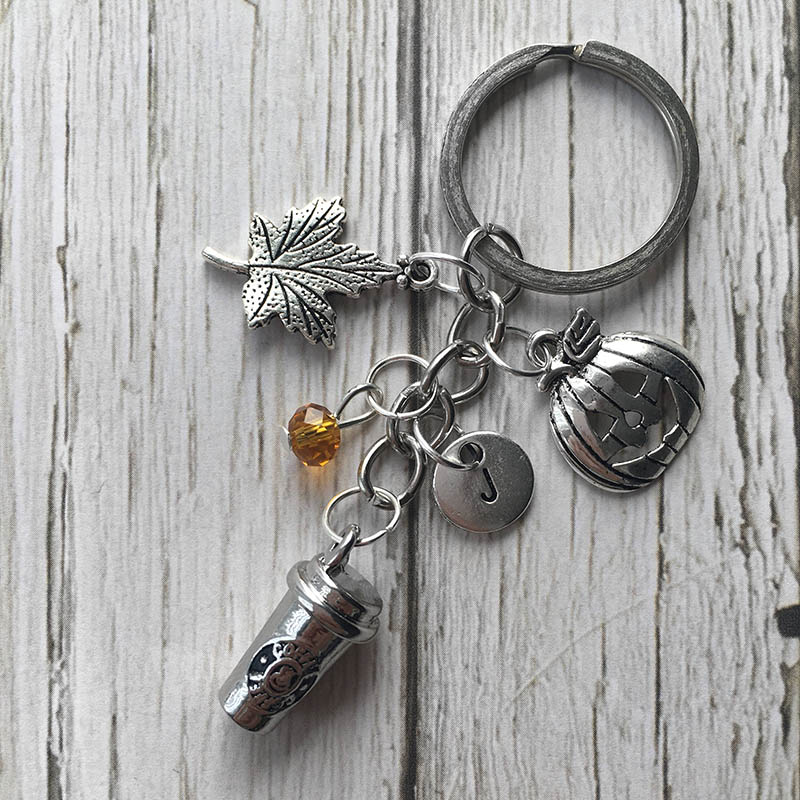 Personalized pumpkin spice latte-inspired keyring