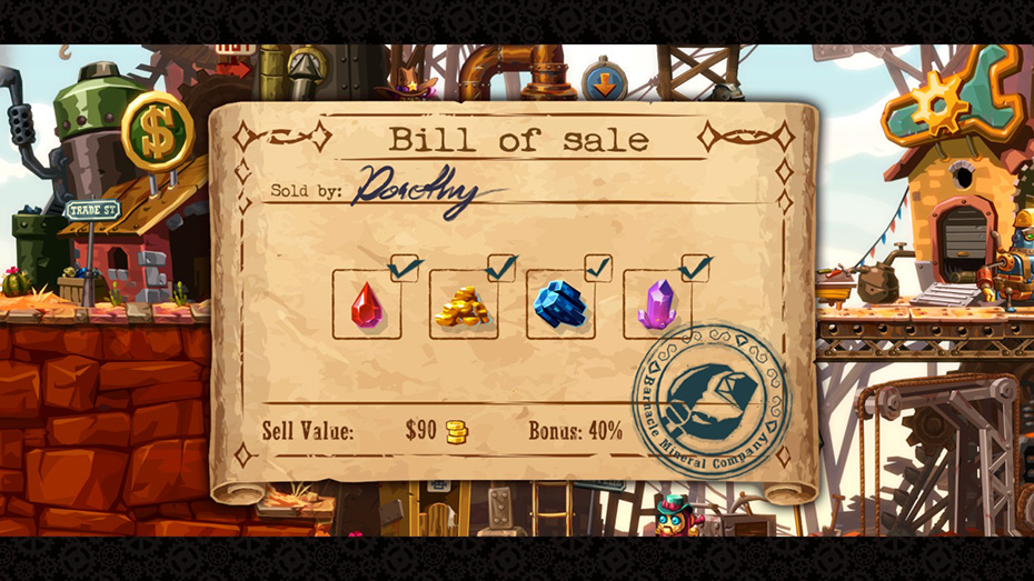 SteamWorld Dig 2: Selling goods in town