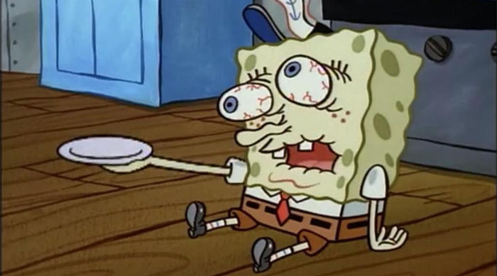 SpongeBob SquarePants sick with the suds