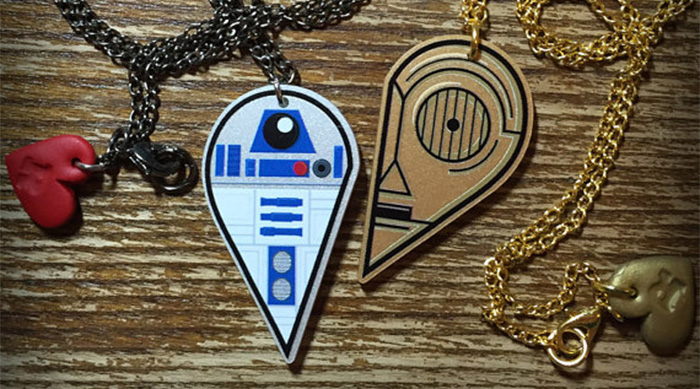 Star Wars jewelry: R2-D2 and C-3PO best friends forever necklaces