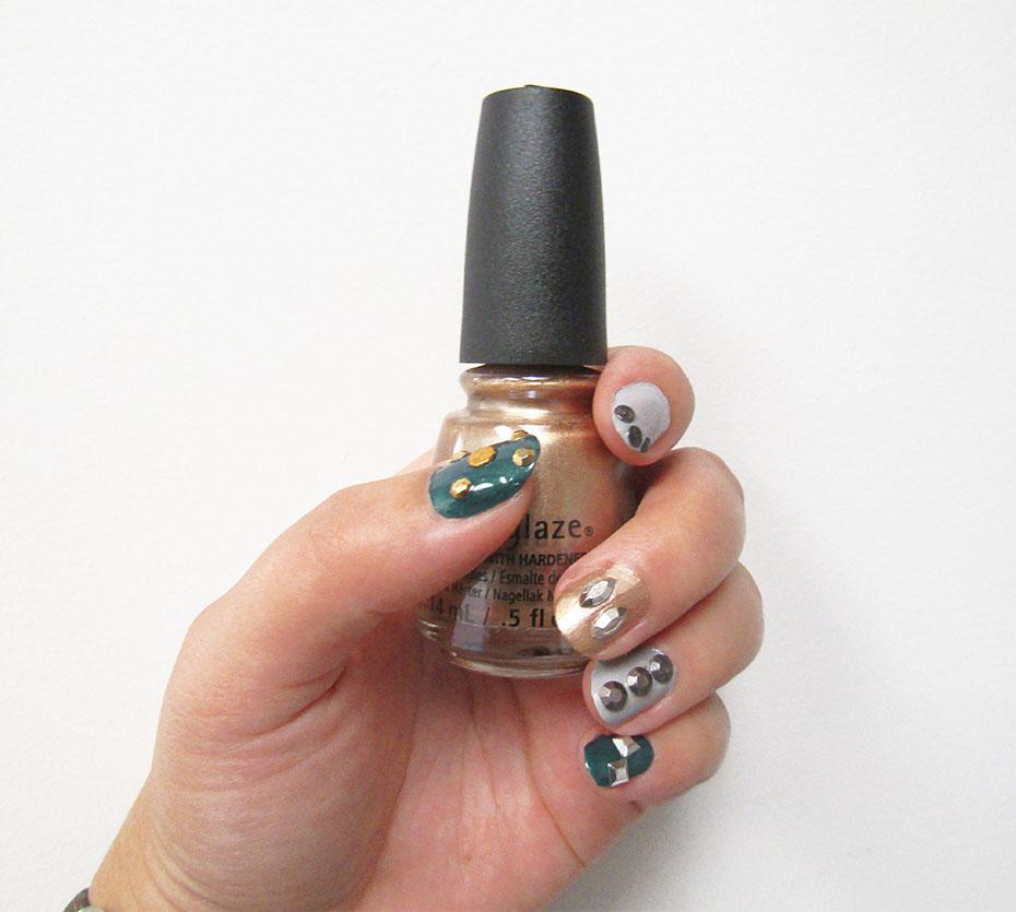 China Glaze Totally Studded nail art left hand
