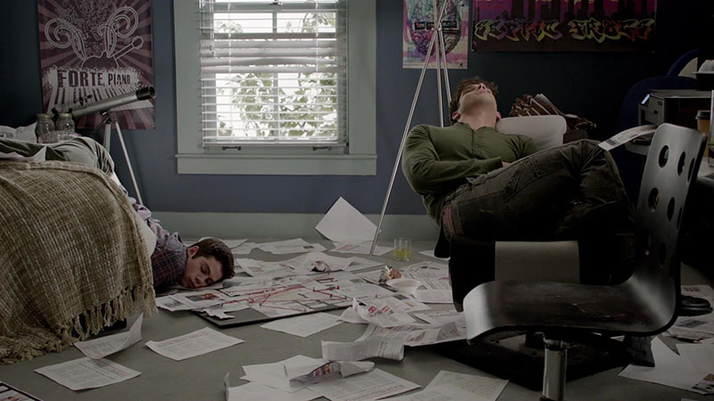 Stiles and Scott sleeping after spending all night studying on MTV's Teen Wolf