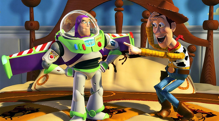 Buzz and Woody meeting for the first time in Disney Pixar's Toy Story