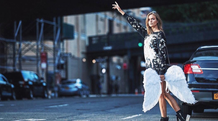 Victoria's Secret Angel Hailing a Cab