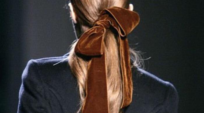 Velvet Hair Bow Tied in Ponytail