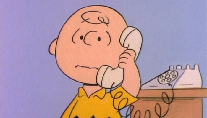Charlie Brown chatting on the phone