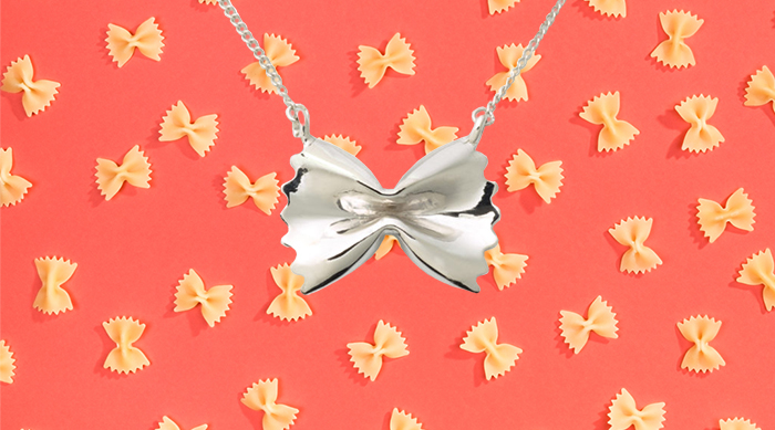 Delicacies sterling silver pasta necklace farfalle