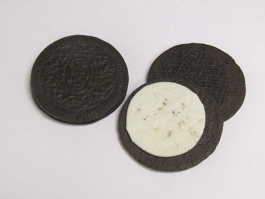 Coconut Oreo Thins stack twisted open