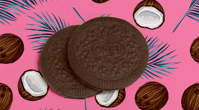 Coconut Oreo Thins stack on coconut background
