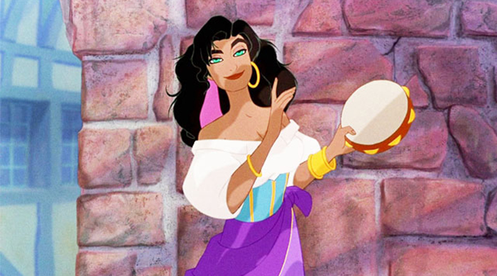 Esmeralda playing the tambourine in The Hunchback of Notre Dame