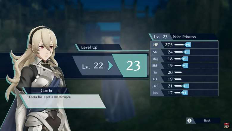Fire Emblem Warriors Corrin levels up