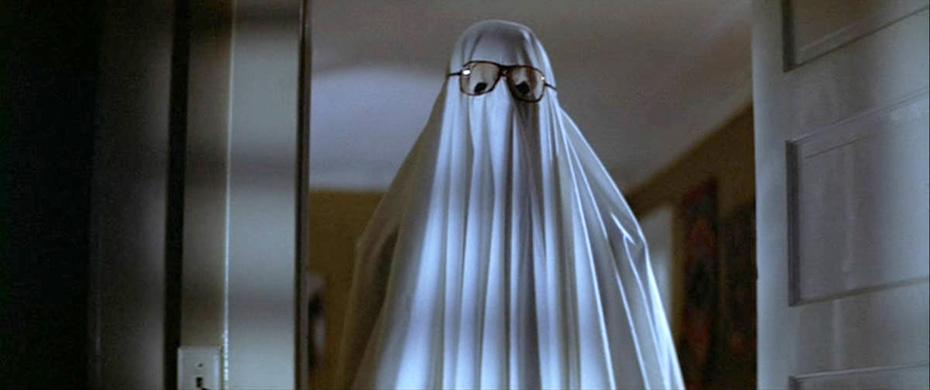 Ghost wearing glasses in Halloween