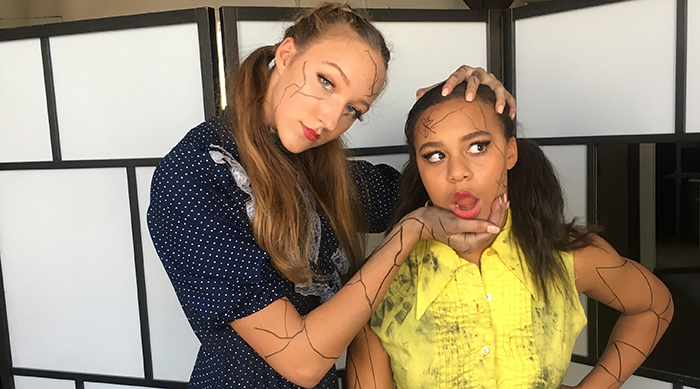 "Nia Sioux and Ava Cota on set for their dance music video for Grace VanderWaal's ""Moonlight"""