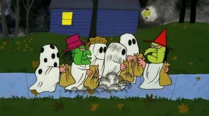 Charlie Brown and the rest of the Peanuts gang trick-or-treating as ghosts in It's the Great Pumpkin, Charlie Brown