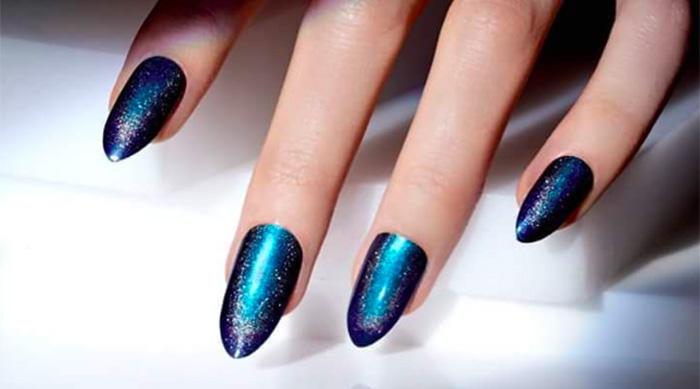 Blue and purple nail art design using CND Nightspell nail polish