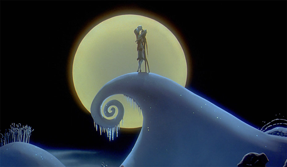 Jack and Sally embrace on hill in Nightmare Before Christmas