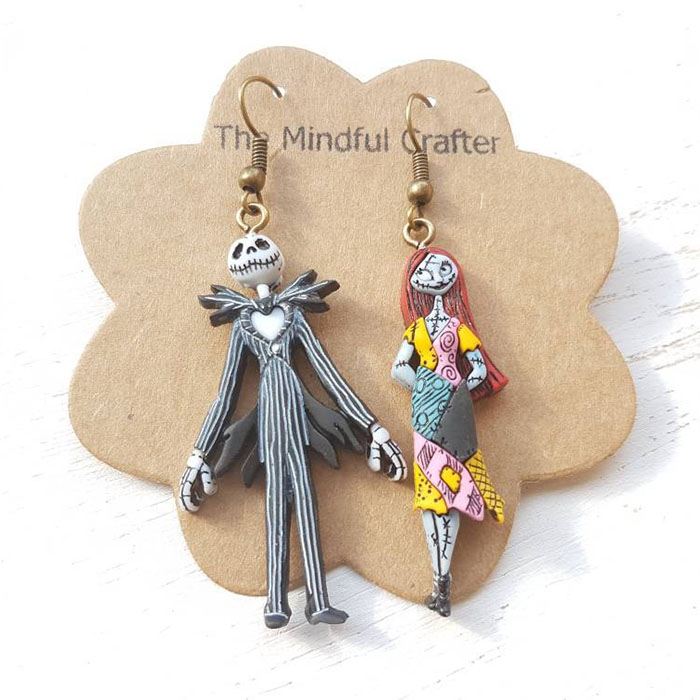 Jack Skellington and Sally earrings from Etsy
