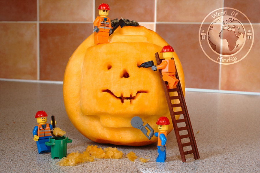 Lego Head construction pumpkin & Unique Pumpkin Decorating Ideas for Halloween