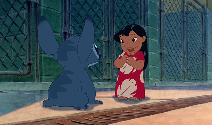 Lilo meeting Stitch for the first time at the dog pound in Lilo & Stitch