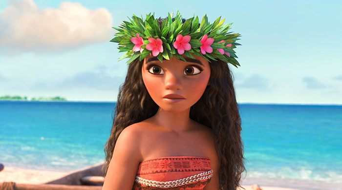 Moana wearing a lei