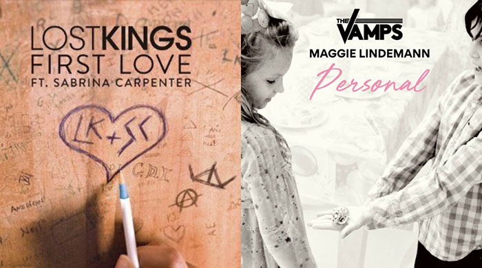 "Single artwork for Sabrina Carpenter's ""First Love"" and The Vamps' ""Personal"""