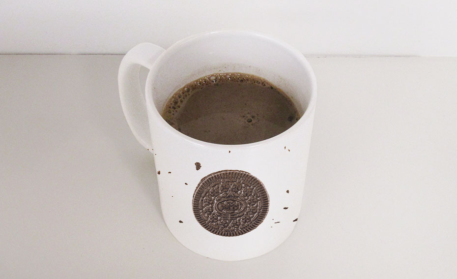 Oreo hot coca mix mug with drink