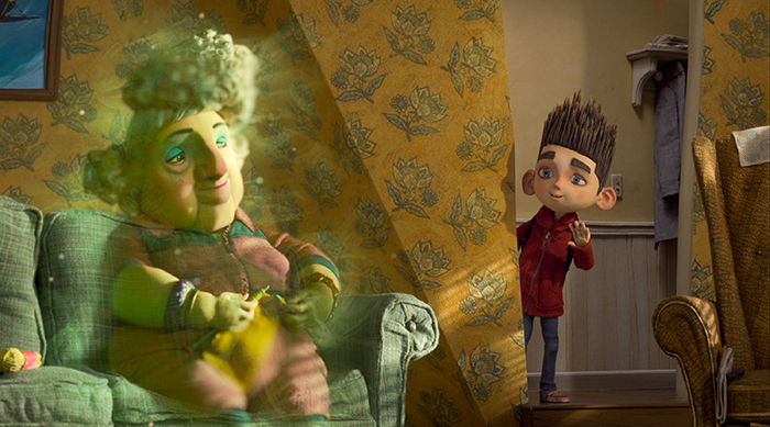 """Norman (voiced by Kodi Smit-McPhee) says """"Hello"""" to his Grandmother (voiced by Elaine Stritch) in ParaNorman, the new 3D stop-motion comedy thriller from LAIKA and Focus Features, directed by Sam Fell and Chris Butler. Credit: LAIKA, Inc."""