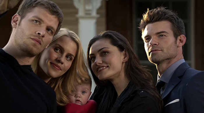 Klaus, Rebekah, Haley and Elijah taking a family selfie on The Originals